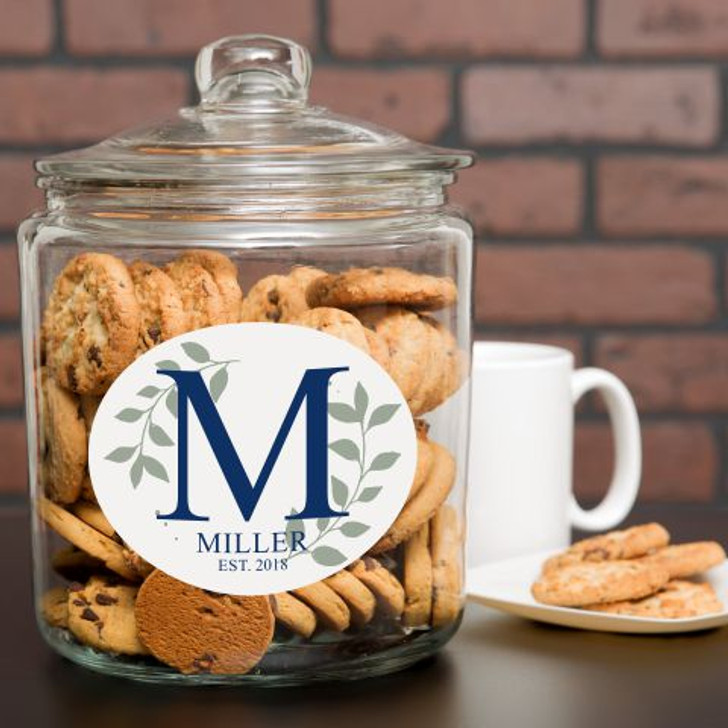 Personalize this cookie jar with family last name and year established. The initial is adjust accordingly.