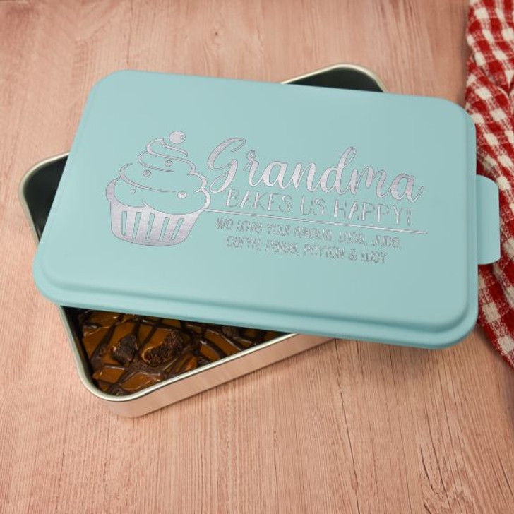 Personalized cake pan for grandma features a short message