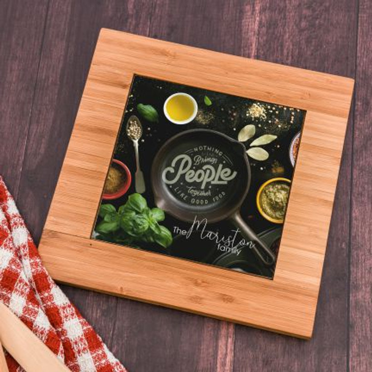 Personalize this  stylish trivet with family's last name