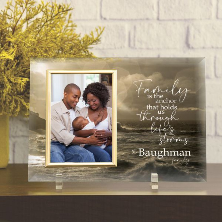 """Personalized glass frame for family has family last name, fits a 4""""x6"""" photo"""