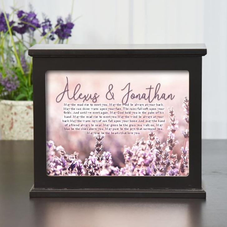 Beautiful light box with the Irish Wedding Blessing is personalized with couple's names