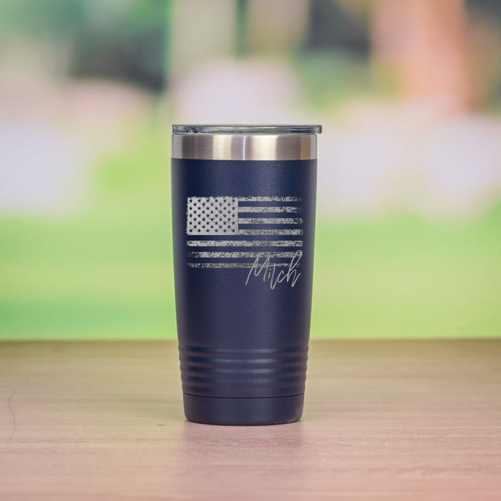 Personalized patriotic travel mug in navy blue