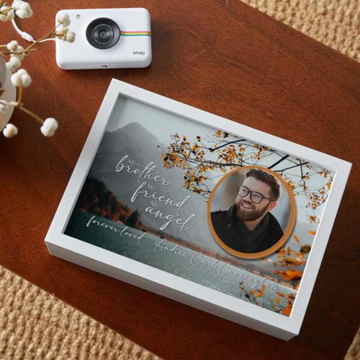 Personalized white memorial keepsake box with brother's picture