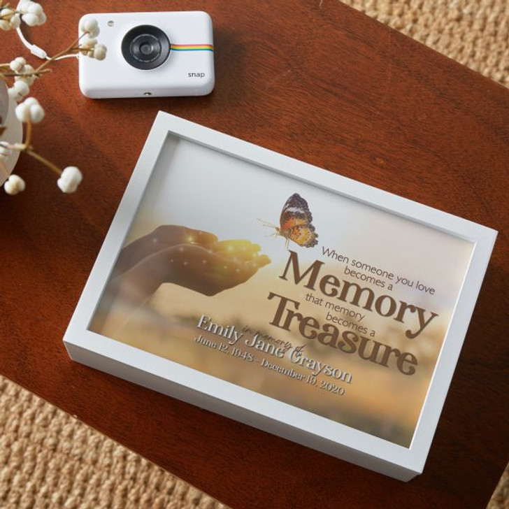 Personalized memorial keepsake box has a butterfly graphic and is personalized with name and dates.