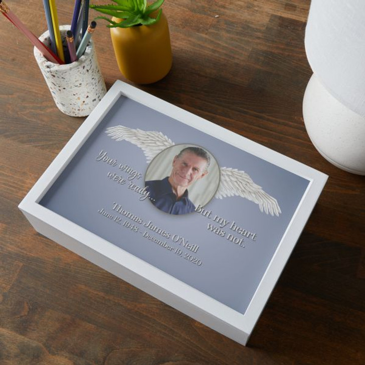 Personalized memorial keepsake box with loved one's picture, name and dates.