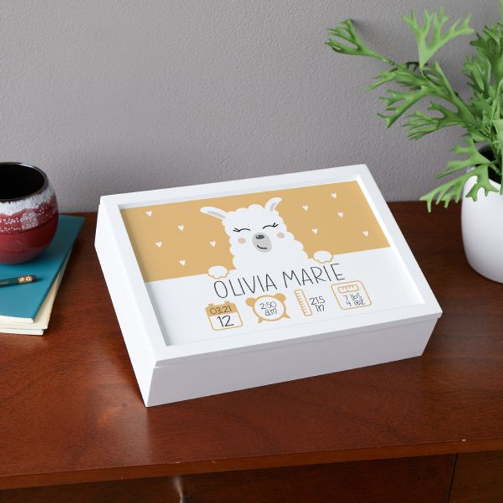Personalized keepsake box for baby with llama and baby's birth information