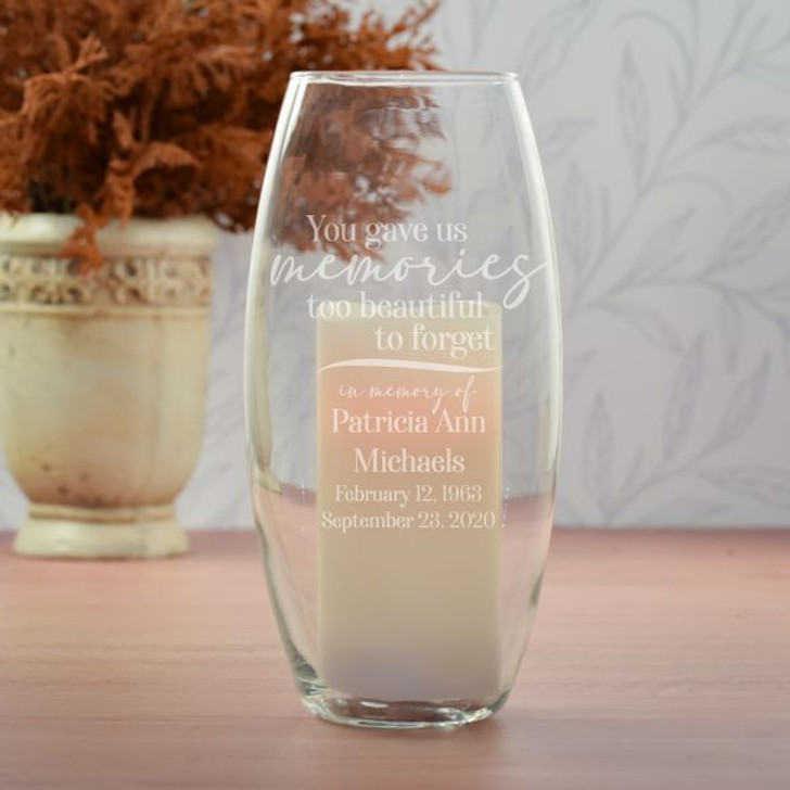 Personalized Memorial Hurricane vase has loved one's name and dates