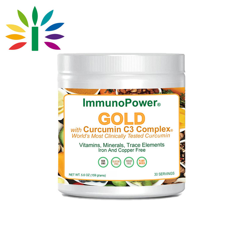 ImmunoPower Gold with turmeric curcumin for increased absorption. Over 40 ingredients, all 2 times lab tested. Made in USA.
