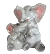 Elephant Mother With Baby Cub Animal Wildlife Poly Resin Figurine Statue- Height 4 inches
