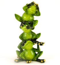 Glossy Frog Hear-Speak-See No Evil Collectible Figure, 6-inch