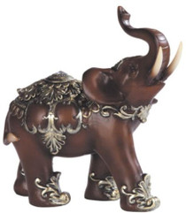 Thai Trunk Up Lucky Elephant Wood Look Collectible Statue Figurine