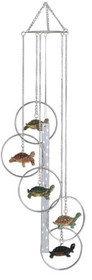 Wind Chime 5-Ring Polyresin Charm Turtle Hanging Garden Decoration