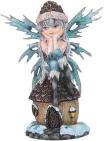 8.75 Inch Light Blue Fairy Sitting on Hut with Snow Trinket Box