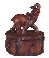 3.5 Inch Wood Like Trinket Box with Elephant Standing Statue Figurine