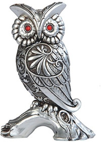 6 Inch Silver Engraved Owl on Branch with Red Gems Statue