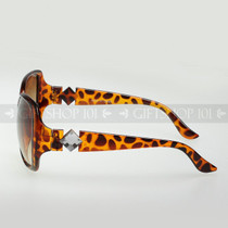 Square Shape Diamond Arm Fashion Sunglasses D9518 Tortoise