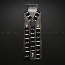 Suspenders Elastic - Silver Mustache / Black