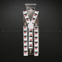 Suspenders Elastic - i Love Mustache / White