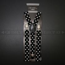 Suspenders Elastic - White Stars / Black