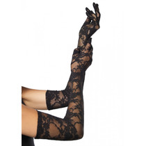 LACE ELBOW LENGTH GLOVES - Black - Image 1