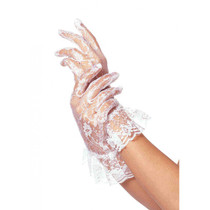 LACE RUFFLE GLOVES - White - Image 1