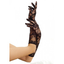 ELBOW LENGTH LACE GLOVES - Black - Image 1