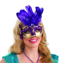 Purple Feathered Carnival Eye Mask