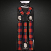 Suspenders Elastic - Red Plaid
