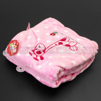 "38"" Wild Animals Print Soft Baby Blanket - Pink With Griaffe - Image 2"