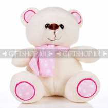 "8.5"" Pandy Bear With Scarf Soft Plush Toy Stuffed Animal - Baby Pink - Image 1"