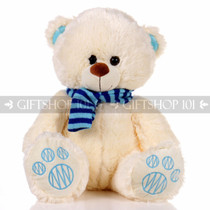 "14"" Theo Bear With Scarf Soft Plush Toy Stuffed Animal - Blue - Image 1"