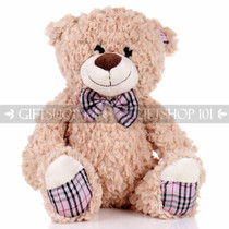 """14"""" Theo Bear With Scarf Soft Plush Toy Stuffed Animal - Brown - Image 1"""