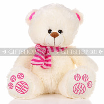 "14"" Theo Bear With Scarf Soft Plush Toy Stuffed Animal - Pink - Image 1"