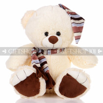 "13.5"" Shorty Bear With Hat & Scarf Soft Plush Toy Stuffed Animal - Brown - Image 1"