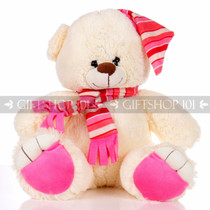 "13.5"" Shorty Bear Hat & Scarf Soft Plush Toy Stuffed Animal - Pink - Image 1"