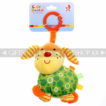 "6"" Cute Dog Soft Plush Baby Rattle With Clips - Green - Image 1"