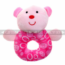 "5.5"" Animal Soft Plush Baby Rattle - Pink Bear - Image 1"
