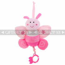 "10"" Cute Butterfly Baby Pull String Musical Plush - Pink - Image 1"