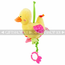 "9"" Cute Duck Baby Pull String Musical Plush - Pink - Image 1"