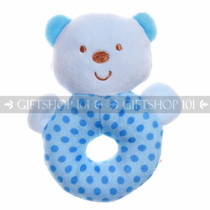 "5"" Cute Bear Soft Plush Baby Rattle - Blue - Image 1"