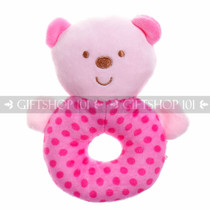"5"" Cute Bear Soft Plush Baby Rattle - Pink - Image 1"