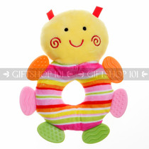 "7"" Cute Bee Soft Plush Baby Rattle With Multi Color Teether - Muilt Color - Image 1"