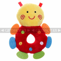 "7"" Cute Bee Soft Plush Baby Rattle With Multi Color Teether - Red - Image 1"