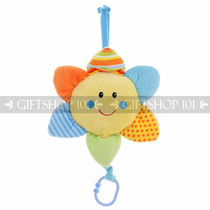 "12"" Take Along Smiling Sun Flower ""Lullaby"" Baby Pull String Musical Plush - Blue - Image 1"