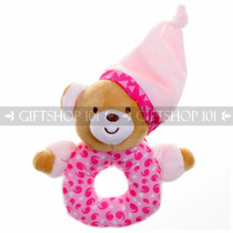 "6"" Sleepy Bear With Hat Soft Plush Baby Rattle - Pink - Image 1"