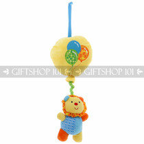 "17"" Wild Animals On Balloon ""Lullaby"" Baby Pull String Musical Plush - Blue Lion - Image 1"