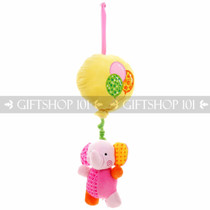 "17"" Wild Animals On Balloon ""Lullaby"" Baby Pull String Musical Plush - Pink Elephant - Image 1"