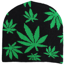 Winter Beanie - Marijuana leaves
