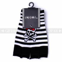 Fingerless Gloves - Black & White Stripes and Skulls with Bows