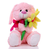 "8.5"" Daisy Bunny with Flower - Pink (Front)"